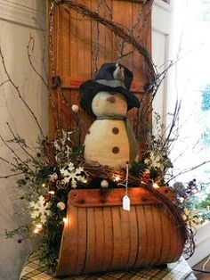 Winter fun: old wooden tobagan recreated into a decorative statement.