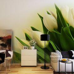 Barato Frete grátis fantasia estética beautiful white tulip flower floral papel de parede quarto sala de estar do lobby mural 3d estéreo, Compro Qualidade Papéis de parede diretamente de fornecedores da China: Material:não-tecido muralpapel de parede de cola não está incluído, mas pode ser comprado a partir de sua loja d