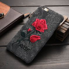 Retro Case For iPhone 7 6 6S Embroidery Rose Cover For iPhone 7 6 6S Plus Soft Art Handmade Flower Cover Elegant Phone Cases