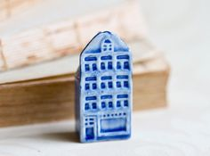 Tiny Little Ceramic Blue House  Miniature Porcelain 4 by Meanglean, $12.00