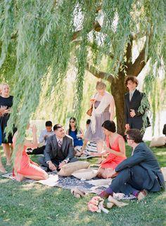 Elegant Picnic Wedding with a Fresh Color Palette Forest Wedding, Woodland Wedding, Whimsical Wedding, Wedding Seating, Wedding Picnic, Picnic Weddings, Garden Wedding, Wedding Reception, Boho Wedding Dress Bohemian