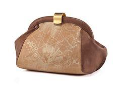 Golden Leather Purse / Printed Clutch / Gold Retro Wallet / Clip Closure Clutch / Evening Shoulder Bag / Leather Bag / Cross Body Bag - Emma
