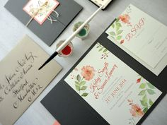 Peach and green wedding invitation - Romantic Rose Watercolor Invitations by NooneyArt Designs #peach #green #peachwedding