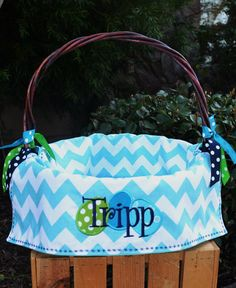 Personalized lined Easter Basket for Girls or Boys 5 colors to choose from