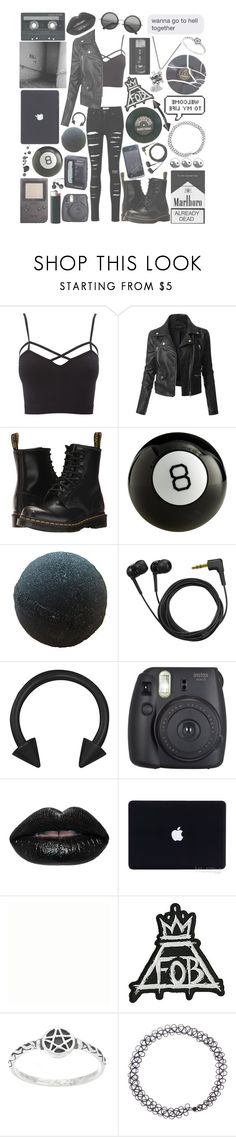 """""""b l a c k (punk/grunge)"""" by madmaxx01 ❤ liked on Polyvore featuring Charlotte Russe, LE3NO, Dr. Martens, Sony, Sennheiser, éS, Fujifilm, Hot Topic, CASSETTE and plus size clothing"""