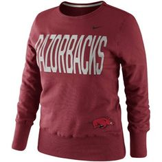 Nike Arkansas Razorbacks Ladies Classic Fleece Crew Sweatshirt - Cardinal