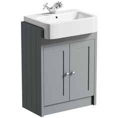 The Bath Co. Dulwich stone grey semi recessed vanity with basin Grey Bathroom Mirrors, Grey Bathroom Furniture, Modern Bathroom Sink, Bathroom Vanity Units, Fitted Bathroom, Grey Furniture, Grey Bathrooms, Vanity Sink, Small Bathroom