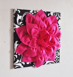 Hot Pink Wall Hanging -Hot Pink Dahlia on Black and White Damask Print 12 Canvas Wall Art- Baby Nursery Wall Decor- Wandgestaltung Murs Roses, Baby Wall Art, 3d Wall, White Damask, Bathroom Colors, Coral Bathroom, Bathroom Art, White Bathroom, Pink Walls