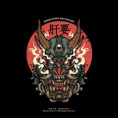 Shin Musha - Warrior on Behance Japanese Pop Art, Japanese Art Prints, Japanese Artwork, Japanese Tattoo Art, Oni Mask, Muster Tattoos, Samurai Artwork, Japon Illustration, Japan Art