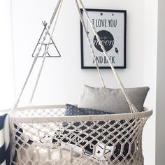 """A bassinet, bassinette, or cradle is a bed specifically for babies from birth to about four months, and small enough to provide a """"cocoon"""" that small babies find comforting. Hanging Bassinet, Hanging Cradle, Cradles And Bassinets, One Bed, Baby Bassinet, Moses Basket, Baby Needs, Kids Bedroom, Little Ones"""