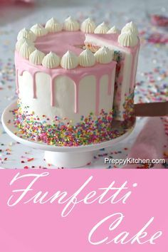What is a Funfetti Cake? It's a moist vanilla cake with extra sprinkles and topped with pink ganache What is a Funfetti Cake? It's a moist vanilla cake with extra sprinkles and topped with pink ganache Moist Vanilla Cake, Easy Vanilla Cake Recipe, Chocolate Cake Recipe Easy, Chocolate Cookie Recipes, Vanilla Drip Cake, Chocolate Ganache, White Chocolate, Funfetti Kuchen, Funfetti Cake