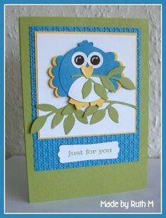 Punch Art Bluebird Just For You Card by FubsyRuth - Cards and Paper Crafts at Splitcoaststampers
