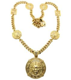 Gold 36 Inch Cuban Link Chain with Multiple Medusa Heads and Greek Key Designed Charms