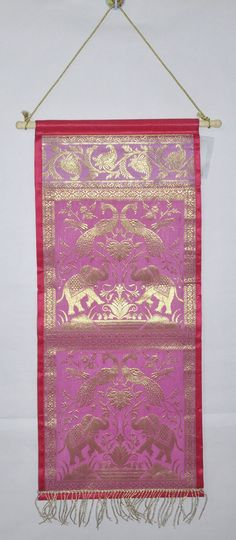 Indian Handmade Decor Wall Hanging Vintage Elephant Brocade Silk Design Tapestry #Lalhaveli