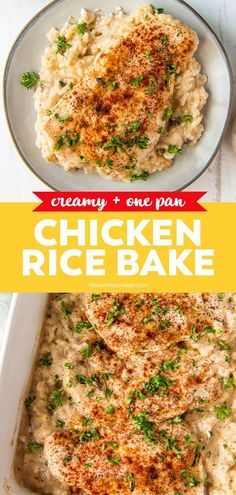 Recipes With Chicken Breast And Rice, Easy Chicken And Rice, Easy Baked Chicken, Best Chicken Recipes, Chicken And Rice Dishes, One Pan Chicken, Easy Rice Recipes, Healthy Recipes, Kitchen Recipes