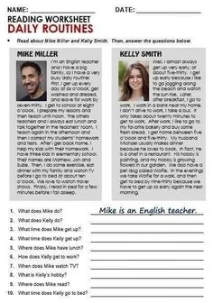 Reading my dsily routine Learning English For Kids, Teaching English Grammar, English Grammar Worksheets, English Vocabulary, Teaching Spanish, English Test, English Words, English Lessons, Learn English