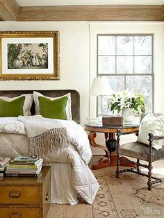 I've always loved a pop of green in a neutral room!