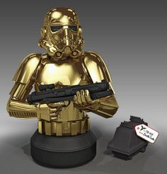 Gentle Giant – 10 Year Commemorative Holiday Golden Stormtrooper Mini Bust.