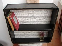 French shabby chic,black distressed/old music sheet,wooden shelves