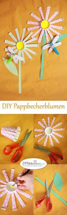 Pappbecherblumen basteln mit Kleinkindern - DIY Bastelideen für die Ferien