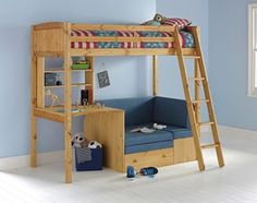 Buy Classic Pine Highsleeper with Blue Sofa and Bibby Mattress at Argos.co.uk, visit Argos.co.uk to shop online for Children's beds, Children's beds, Children's beds