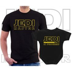 Jedi master and Jedi in progress Matching T-Shirt and Onesie for Dad and baby