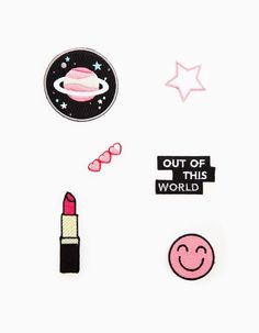 """A Set of 6 Patches: Pink Saturn, Red Hot Firetruck Lipstick, Pink """"I just finished eating"""" Smiley Face, Hearts, Stars, and literally...""""Out of This World""""."""