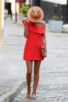 Coral Summer Dress + Straw Hat | Style Inspiration