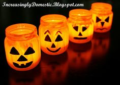 Jack O Lantern Tealights -- Maybe put these through the flower bed on Halloween?