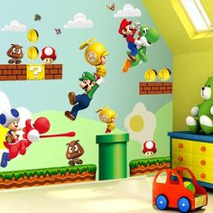 Large Super Mario Bros Kids Removable Wall Sticker Decals Nursery Decor Vinyl by Tech2Mix on Etsy https://www.etsy.com/listing/252443436/large-super-mario-bros-kids-removable