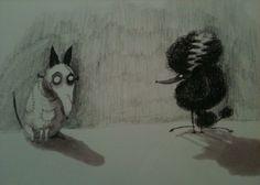 Frankenweenie and his bride by Tim Burton #art