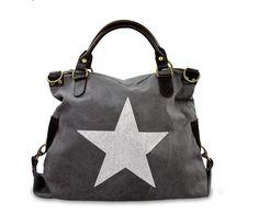 Taschen : Sterntasche aus Canvas mit Echtleder