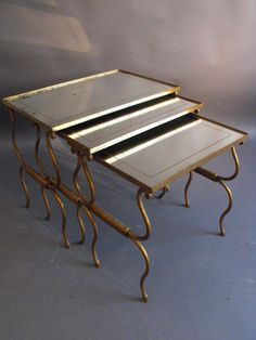 Decorative  French 20thC nest of tables with mirrored tops