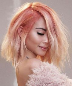 Coolest Pink Ombre Hair Color Ideas for Girls Not to Miss Out This Year for An Amazing and Brilliant Look. Pink Ombre Hair, Pastel Pink Hair, Peachy Hair Color, Hair Colors, Coral Hair Color, Pastel Bob, Ombre Color, Short Hair Wigs, Short Hair Styles