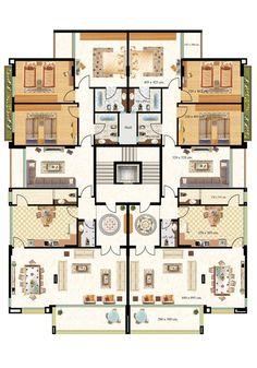 Condominium Architecture, Architecture Plan, Residential Architecture, Home Design Floor Plans, House Floor Plans, Plan Hotel, Residential Building Plan, Office Building Plans, Architectural Floor Plans