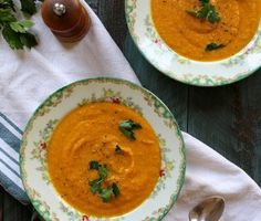 Vegan Carrot Jalapeño Soup - Joy the Baker  easy to make, spicy jalapeno flavor, could use chunks veggies and/or herbs