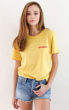bcbf3f9527 Description Details  Unisex fit maize yellow crewneck tshirt featuring   Sunday  print on