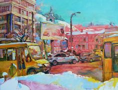 """Saatchi Art is pleased to offer the painting, """"Sunny yellow bus,"""" by Andrii Kutsachenko, available for purchase at $2,250 USD. Original Painting: Oil on Canvas. Size is 23.6 H x 31.5 W x 0.4 in. Car Painting, Oil Painting On Canvas, Acrylic Canvas, Canvas Art, Canvas Size, Original Paintings, Original Art, Impressionism Art, Urban Landscape"""