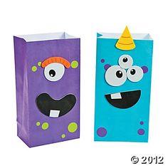 Halloween Party - Monster Treat Bag Craft Kit - Cute idea!