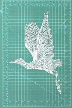 Flying crane bird papercut art decor - original paper-cutting artwork, Gift for Her, Wedding's Day, Office Home Decor Paper Cutting Patterns, Paper Cutting Templates, Diy Arts And Crafts, Crafts To Do, Paper Crafts, Glue Art, Paper Cut Design, Crochet Quilt, Bird Illustration