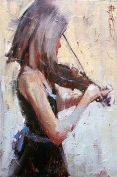Andre Kohn - The Violinist Music Artwork, Art Music, Violin Art, Violin Painting, People Art, Art Themes, Black Art, American Art, Creative Art