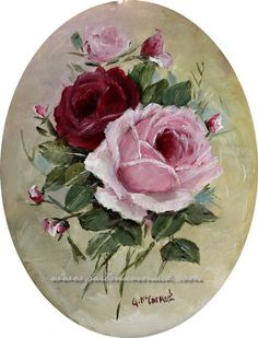 Roses Original Painting in Ornate Frame by Gail McCormack