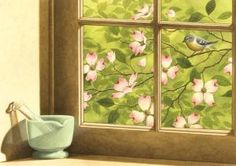 "Spring Dogwood Pharmacy Art Print Item PF581 Captivating and detailed, the artwork created by Richard Cowdrey exclusively for eMedDecor is available in print form ready for the framing of your choice.  Pretty dogwood blooms are seen through the paned window as the green mortar and pestle sits on the window sill.  Artwork is 13 1/2"" x 9 1/2""; overall paper dimensions are 17 3/4"" x 13 3/4"""