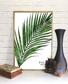 Palm Leaf Aquarell Druck