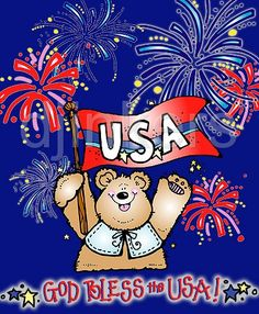God Bless the USA cart with DJ Inkers clip art:  4th of July