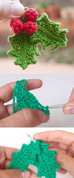 Crochet Holly Leafs Very Fast and Very Easy Step by step tutorial