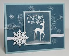 winter card in gray blue...Stampin' Up...Dasher image...like the design and the snowflake...
