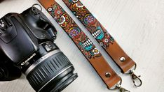 Custom Leather Camera Strap  Sugar Skull  Day of the by MesaDreams