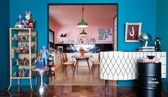 Gorgeous turquoise kitsch interior by Studio Guilherme Torres.