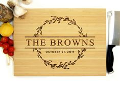 Personalized Cutting Board, Engraved Cutting Board, Custom Cutting Board, Monogram, Wreath, Personalized Wedding Gift, Bridal Shower Gift